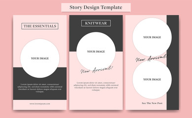 Cute Pink social media story design template set for fashion, cosmetic, event, or promotion with circle photo frame