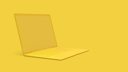 Laptop background with blank screen yellow color Wall mural