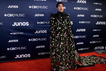 Jeremy Dutcher arrives at the 2019 Juno Awards in London, Ontario, Canada