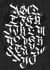 Full alphabet in the Gothic style. Vector. Letters and symbols on a black background. Calligraphy and lettering. Medieval Latin letters. Individual letters. Elegant font for your project