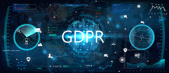 GDPR - General Data Protection Regulation. Idea of data protection. Futuristic interface and world map witch graphic and charts. Protection of personal data. Vector illustration. GDPR concept