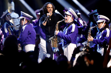 Loud Luxury performs with the Western Mustangs Marching Band at the 2019 Juno Awards in London, Ontario, Canada