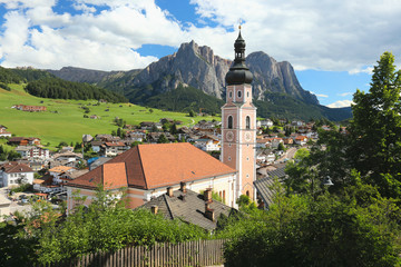 view of the town of Castelrotto in the Dolomites, South Tyrol