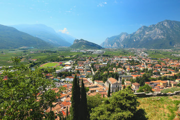 view from the castle to the town of Arco at Lake Garda, Italy