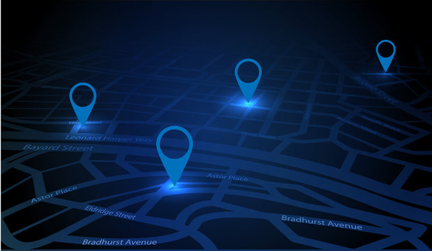 Gps tracking map. Track navigation pins on street maps. Futuristic design navigate mapping technology and locate position pin. Gps map or location navigator, vector illustration