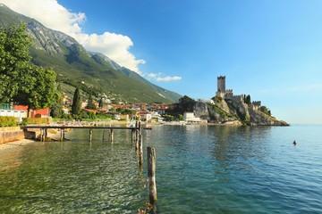 Malcesine, view of Castello Scaligero Castle, Lake Garda