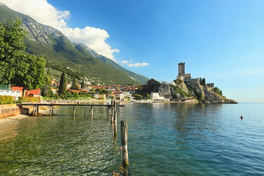Malcesine, view of Castello Scaligero Castle, Lake Garda