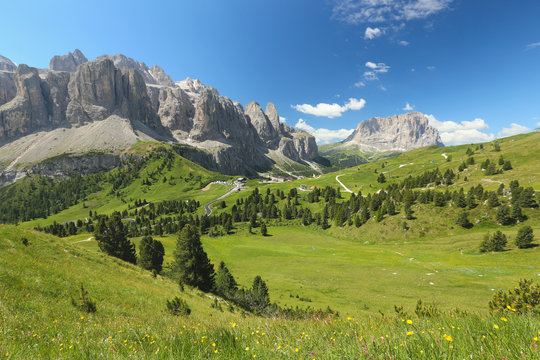 view of the alpine pass Passo di Gardena in Dolomites, Italy