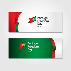 Portugal Freedom Day Flag Vector Template Design Illustration