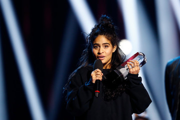Jessie Reyez reacts after winning R&B/Soul recording of the year at the 2019 Juno Awards in London, Ontario, Canada