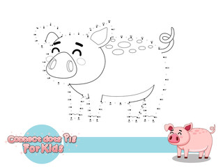 Connect The Dots and Draw Cute Cartoon Pig. Educational Game for Kids. Vector Illustration With Cartoon Style Funny Animal