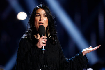 Tanya Talaga speaks at the 2019 Juno Awards in London, Ontario, Canada