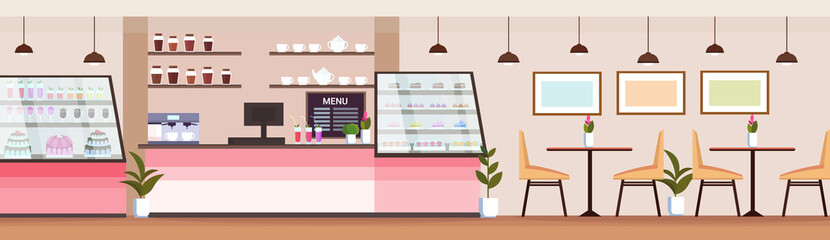 modern coffee shop empty no people cafeteria interior bakery store design flat horizontal