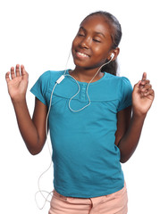 African American girl listening to music via plugs