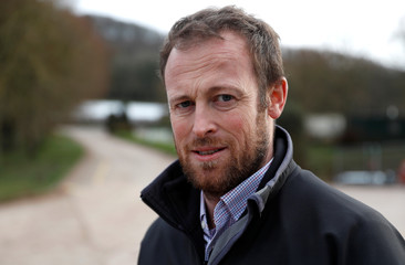 Owner of Cobrey Farm Chris Chinn poses for a photograph at his farm in Ross-on-Wye