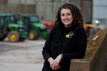 Eastern European worker Elina Kostadinova poses for a photograph at Cobrey Farm in Ross-on-Wye