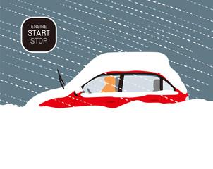 暴風雪で自動車が雪に埋まった場合の対処