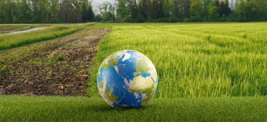 earth globe arable land 3d-illustration. elements of this image furnished by NASA