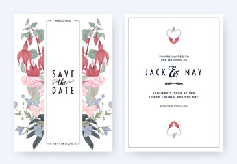 Floral wedding invitation card template design, Fuchsia icy pink and balloon flowers with leaves on white pastel vintage theme