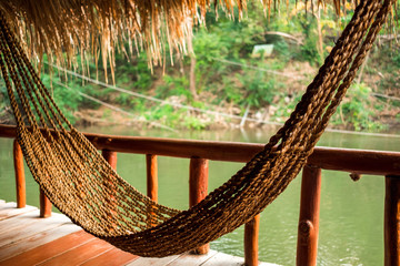 Empty handmade hammock in great natural of Thailand