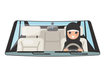 Female arab driver vehicle interior car wheel ride driving isolated flat design vector illustration