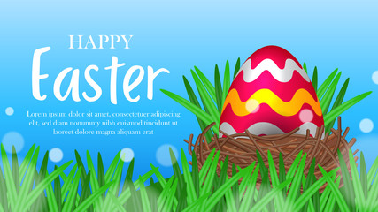 Poster Magic world big egg red decorative on the green grass with blue sky background for easter event party