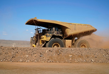 Large truck at a gold mine moving dirt