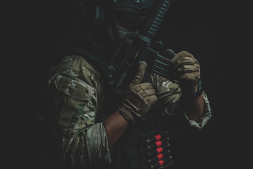 Special forces soldier police fighting with gun