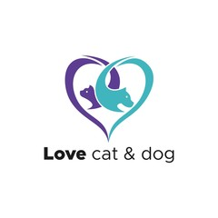 love cat and dog logo vector