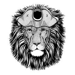 Foto op Canvas Hand getrokken schets van dieren Lion wearing pirate tricorn hat. Capitan costume.