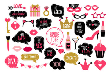 Set of hen party photo booth props