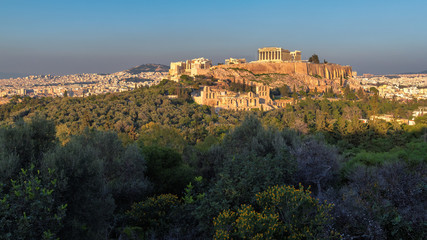 Canvas Prints Athens Panoramic view of the Acropolis of Athens, with the Parthenon Temple at sunset, Athens, Greece.