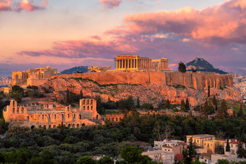Sunset at the Acropolis of Athens, with the Parthenon Temple, Athens, Greece. Fototapete