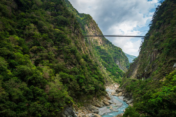 Taroko national park canyon landscape in Hualien, Taiwan. Natural canyon and river view of Swallow Grotto (Yanzikou) hiking trail.