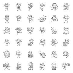 hand drawing cartoon happy kids vector illustration