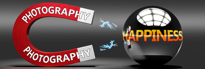 Photography leads to happiness, joy and pleasure - this abstract idea is pictured as a red magnet with two big Photography logo attracting a shiny, metal sphere with word happiness., 3d illustration