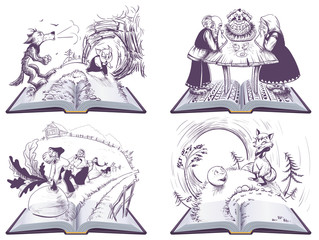 Russian folk tales set open book illustration