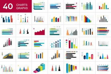 Mega set of charst, graphs. Blue color. Infographics business elements.