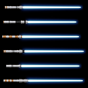 Isolated light sabers on black background