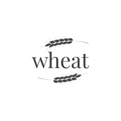 Wheat logo design. Wheat typography and ears. Business design template.