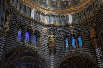 Panoramic view of interior of Siena Cathedral (Duomo di Siena)
