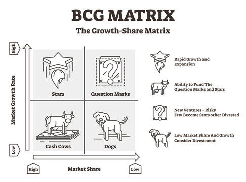 BCG matrix vector illustration. Outlined cash cows and dogs Boston graphic.