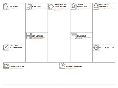 Lean canvas vector illustration. Business plan presentation blank template.