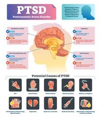 PTSD vector illustration. Labeled anatomical mental disorder causes scheme.