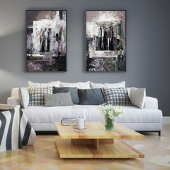 Modern living room interior with abstrack paintings (detail) - 3d illustration