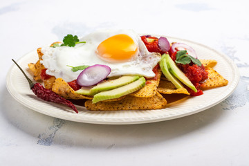 Mexican breakfast - chilaquiles dish