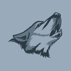 Lonely howling wolf tattoo style.