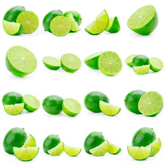 Collage of limes on a background