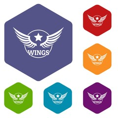Wing icons vector colorful hexahedron set collection isolated on white