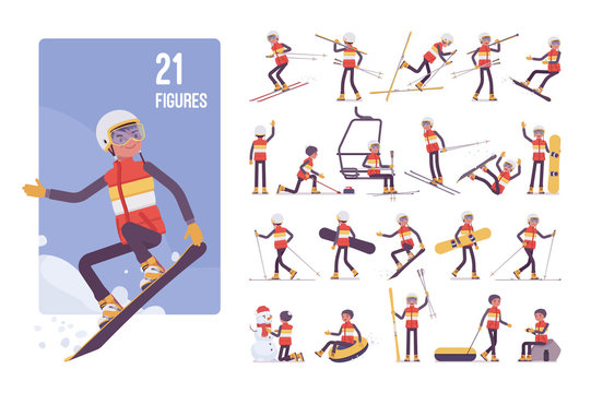 Sporty young man on a winter resort character set. Guy enjoys snow outdoor activities, wintertime recreation and sport, active holiday fun. Full length, different views, gestures, emotions and poses